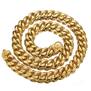 """Heavy Gold 15mm Cut Curb Cuban Link Chain 316L Stainless Steel Mens Necklace 24"""""""