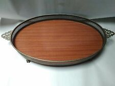 Vintage Mahogany Brass Eagle Claw Oval Dresser/Serving Tray~ Excellent Condition