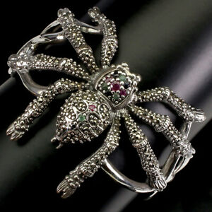 Round Ruby Emerald Sapphire Marcasite 925 Sterling Silver Spider Bangle 2.4x2.1