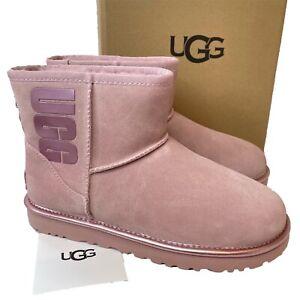 Women's UGG Boots Pink Size 5 6 Classic Mini Logo Suede EU 38 39