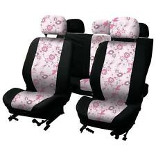 UNIVERSAL CAR SEAT COVER SET Pink Flower Black Washable Airbag Compatible