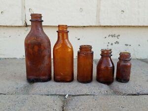 Dug Relics Old Medicine Bottles Amber Brown Color Lot of 5