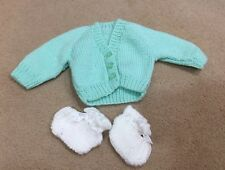 38dc36a9e New 3 Month Baby Clothes Hand Knitted Cardigan + Socks Green White Boy Girl
