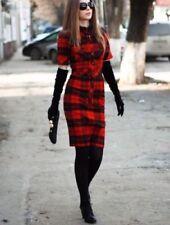 AUTH RUNWAY D&G Dolce & Gabbana wool red tartan Plaid Checkers dress sz 44