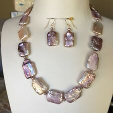 Baroque Square Pearl Purple 20-21mm elegant necklace 46cm Earring SetHigh Luster