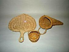 3 Miniature Wicker Items: Fan, Horn, Basket