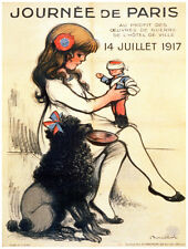"11x14""Decoration poster.Interior design.French.Girl doll & black poodle.7007"