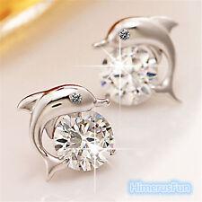 Crystal Eye Dolphin Stud Earrings Women's 925 Silver Plated Jewelry Gifts
