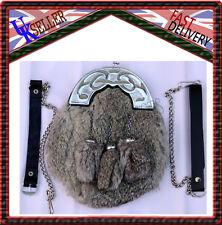 Robe complète Sporran gris chrome & fourrure Lapin celtique cantle 3 gris glands