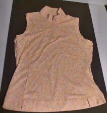 Adidas Orange Stretch Sleeveless Zip Front Tank Multi Color Dots Print -Small