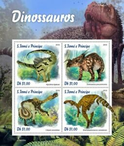St Thomas - 2019 Dinosaurs on Stamps - 4 Stamp Sheet - ST190109a