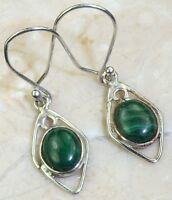 EXQUISITE MALACHITE .925  SILVER DESIGNER EARRINGS 1-1/4 inches