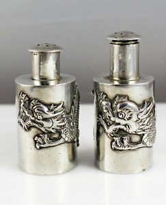 Pair Antique Chinese Export Silver Dragon Salt & Pepper Shakers - Wang Hing