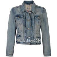 New Ladies Denim Jacket Women Falmer Heritage Fitted Vintage Shirt Coat 8-20size