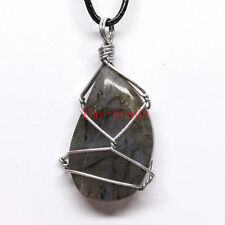 Silver Plated Wire Wrapped Natural Labradorite Stone Random Shape Stone Pendant