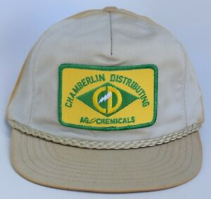 Chamberlin Distributing AG Chemicals Patch Baseball Cap Hat Leather Strapback