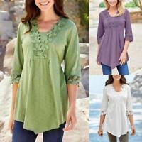 Women Ladies Casual Shirts Solid Lace Stitching Half Sleeve T-shirt Tops Blouse