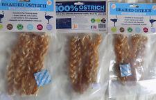 3 X Braided Ostrich Tendon Twists Gluten & Grain Free Natural Dog Treats
