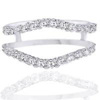 3/4 Ct Guard Solitaire Enhancer Wedding Diamonds 14k White Gold Ring
