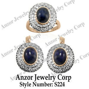 Russian Style Genuine Sapphire and Diamond Jewelry Set in 14K Solid Rose & White
