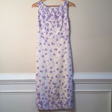 Escada White Silk Dress With Lavender Butterfly Floral Pattern Mint Condition