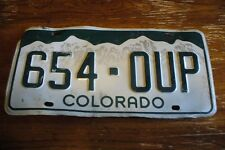 SINGLE  COLORADO  license plate EXPIRED  654 OUP