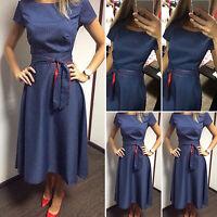 Womens Vintage Polka Dot Swing Dresses Short Sleeve Casual Party Midi Sundress