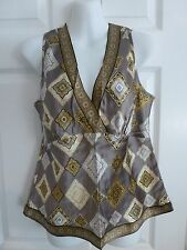 Alfani Silk Taupe Brown Black Gold Scarf Print Sleeveless Shell Blouse Top 10
