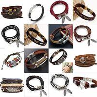 Fashion Multilayer Leather Handmade Rope Wristband Men's Bracelet Bangle