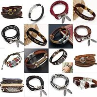 Retro Fashion Leather Wrap Men's Braided Wristband Cuff Punk Women Bracelet Gift