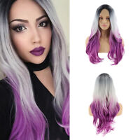 Ombre Gray Purple Long Wavy Curly Wigs Synthetic Hair Full Wig For Women Cosplay