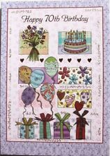 Happy 70th Birthday card, celebration theme, balloons, cake, flowers, brand new