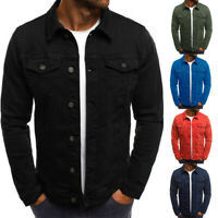 Retro Men's Classic Denim Jean Coat Jacket Casual Outwear Tops Slim Fit Hot