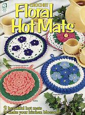 Floral Hot Mats ~ 9 Flower Potholders ~ Pansy Daisy & More crochet patterns RARE