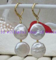 Véritable Aaa Black /& White Pearl 18K YGP double Dangle Clip Sur Boucles D/'oreilles