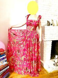Dolce & Gabbana Floral Pink Dress Gown Silk Prom Ball Gala Wedding Party Dress
