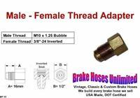 "Brake Line Thread Adapter, Male M10 x 1.25 Bubble, Female 3/8"" x 24 Inverted"