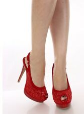 Red Studded Accent Peep Toe Heels Womens Shoes Size 7