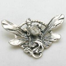 Vintage Art Nouveau Pendant 925 Sterling Silver Lady Fairy Wings