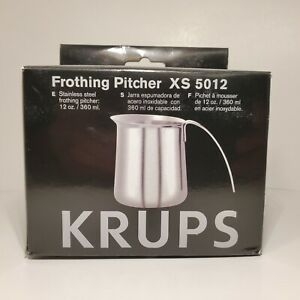 Krups 12oz Frothing Pitcher XS 5012 Stainless Steel Cappuccino Latte Barista