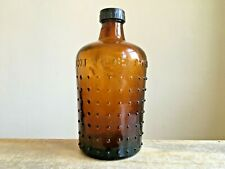 More details for old brown embossed not to be taken domed studs glass poison bottle barn salvage