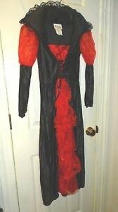 California Costume Black Red Vampire Dress Child Medium Hand Wash Mesh Sleeves