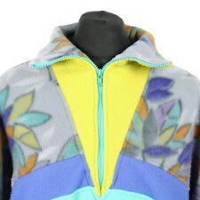 Vintage Thick Patterned Fleece Jacket | Festival Funky Coat Warm Hiking Full Zip