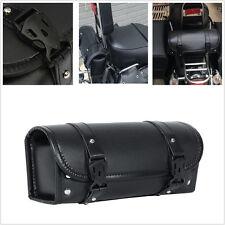 Universal Motorcycle Tool Bag Luggage Saddlebag Black PU Leather Round Barrelbag