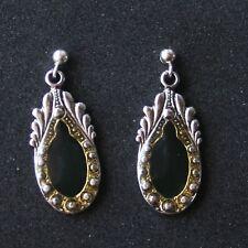 Vtg 1970-1980s enamel Deco drop Earrings-sterling posts