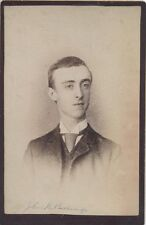 CABINET CARD PORTRAIT OF SLENDER YOUNG MAN IN LARGE TIE -PITTSBURGH, PA ORIGINAL