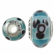 Panda Design on Murano Style Glass Bead Solid 925 Sterling Silver Core