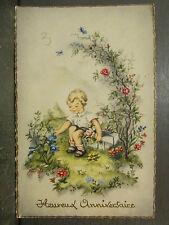 cpa fantaisie enfant garcon jardin fleuri