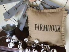 "Burlap Handcrafted TABLETOP/TOSS Pillow ""FARMHOUSE"" 16"" PILLOW COVER/Farm Decor"