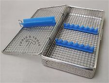 PERFORATED MESH STERILISATION CASSETTE RACK TRAY 7 DENTAL INSTRUMENTS AUTOCLAVE